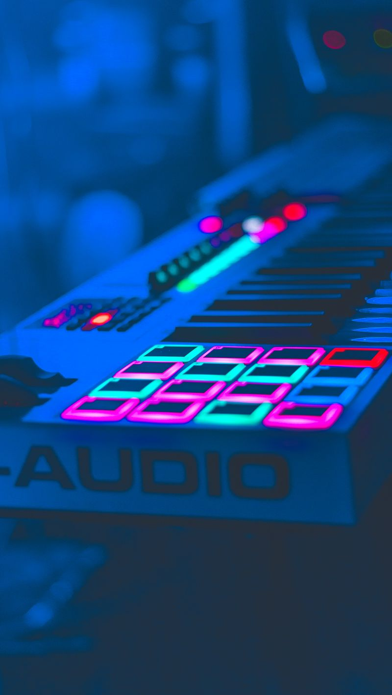 800x1420 Wallpaper neon, key, instrumental, audio