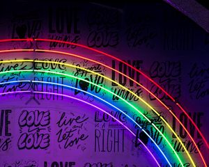 Preview wallpaper neon, lettering, rainbow, wall, lights