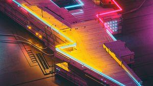 Preview wallpaper neon, lightning, art, futurism