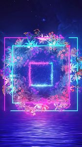 Preview wallpaper neon, squares, flowers, patterns, glow