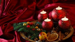Preview wallpaper new year, christmas, candles, needles, food, silk
