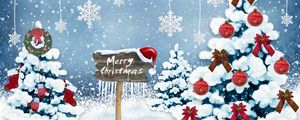 Preview wallpaper new year, christmas, card, christmas trees, snowflakes, ornaments