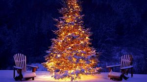 Preview wallpaper new year, christmas, christmas tree, decoration, chairs, snow, garland