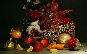 Preview wallpaper new year, christmas, holiday, santa claus, gift, food, toys