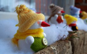 Preview wallpaper new year, christmas, holiday, snowmen, wool, balcony