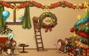Preview wallpaper new year, christmas, holiday, vanity, decorations, tree, mouse, cartoon