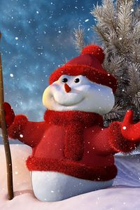 Preview wallpaper new year, christmas, snowman, lamp, tree, snow, smiling