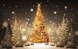 Preview wallpaper new year, christmas, trees, wood, card, snow, night, holiday