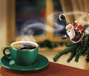 Preview wallpaper new year, coffee, christmas tree, santa claus, snowman, angel