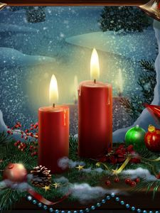 Preview wallpaper new year, holiday candles, postcards, toys, stars, christmas