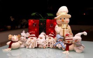 Preview wallpaper new year, holiday, christmas, snowmen, santa claus, gifts, toys
