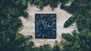 Preview wallpaper new year, postcard, branches, spruce