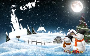 Preview wallpaper new year, snowmen, night, greeting, holiday, christmas
