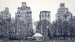 Preview wallpaper new york, central park, lake, trees, buildings