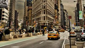 Preview wallpaper new york, city, building, street, cars, traffic