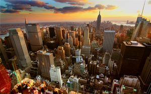 Preview wallpaper new york, home, skyscrapers, rooftops, sunset
