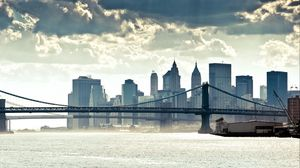 Preview wallpaper new york, manhattan, panorama, river, bridge