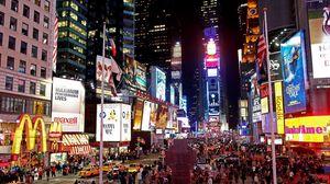 Preview wallpaper new york, manhattan, street, night