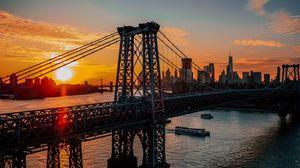Preview wallpaper new york, usa, bridge, dawn