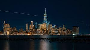 Preview wallpaper new york, usa, night city, panorama, skyscrapers, beach