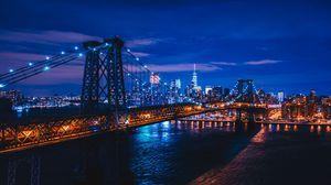Preview wallpaper new york, usa, night city, bridge