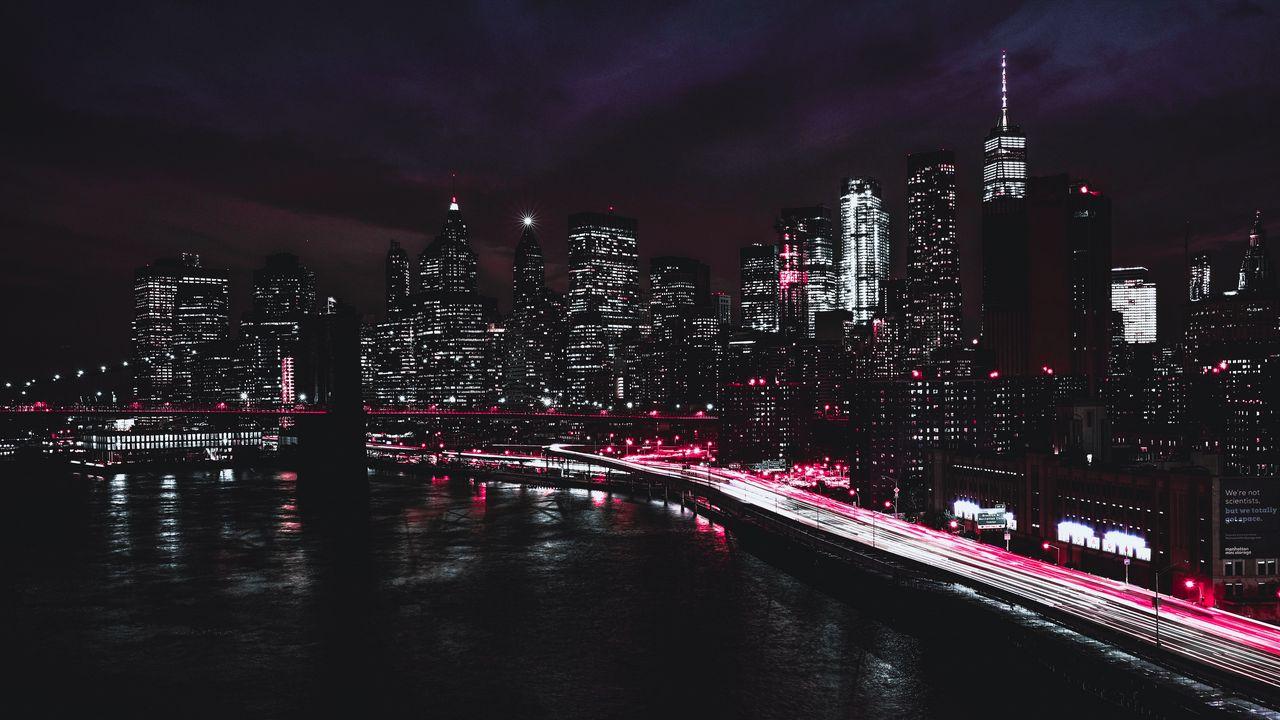 Wallpaper new york, usa, night, skyscrapers