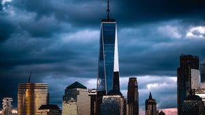 Preview wallpaper new york, usa, skyscraper, clouds, overcast