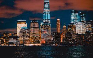 Preview wallpaper new york, usa, skyscrapers, shore, night