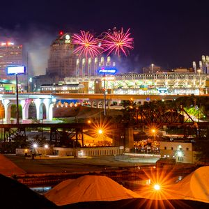 Preview wallpaper night city, city, architecture, fireworks, lights