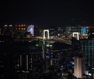 Preview wallpaper night city, city, buildings, ferris wheel, aerial view