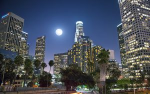Preview wallpaper night city, city, buildings, moon, night