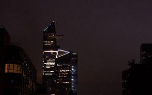 Preview wallpaper night city, city, buildings, road, cars, dark
