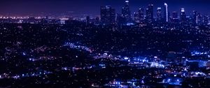 Preview wallpaper night city, city lights, overview, aerial view