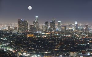 Preview wallpaper night city, city, moon, buildings, night