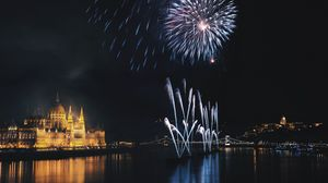 Preview wallpaper night city, fireworks, night, budapest, hungary