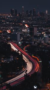 Preview wallpaper night city, long exposure, city lights, night, los angeles, united states