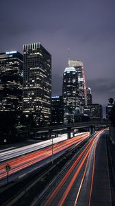 Preview wallpaper night city, long exposure, road, los angeles, united states