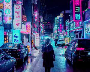 Preview wallpaper night city, street, umbrella, man, signboards, lighting, neon