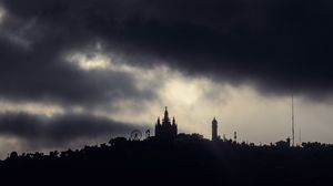 Preview wallpaper night, clouds, overcast, buildings, gaudi house, barcelona, spain
