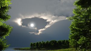 Preview wallpaper night, moon, lake, trees, nature