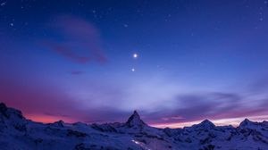 Preview wallpaper night, mountains, snow, sky, stars