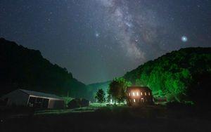 Preview wallpaper night, starry sky, darkness, light, stars