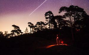 Preview wallpaper night, starry sky, meteor, man, silhouette, dark
