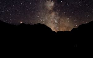 Preview wallpaper night, starry sky, mountains, silhouette, dark