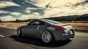 Preview wallpaper nissan, 350z, stance, movement, speed, side view