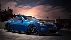Preview wallpaper nissan, 370z, tuning, blue, side view