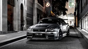 Preview wallpaper nissan, auto, black, street