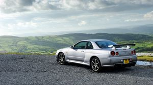 Preview wallpaper nissan, skyline, gt-r, silver, side view
