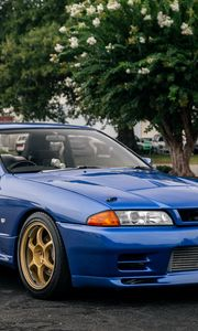 Preview wallpaper nissan skyline r32, nissan, car, blue, tuning