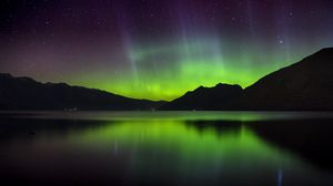 Preview wallpaper northern lights, aurora, mountains, sunset, lake, new zealand